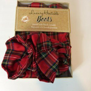 Women's Red Plaid Luxury Heatable Boots/Booties